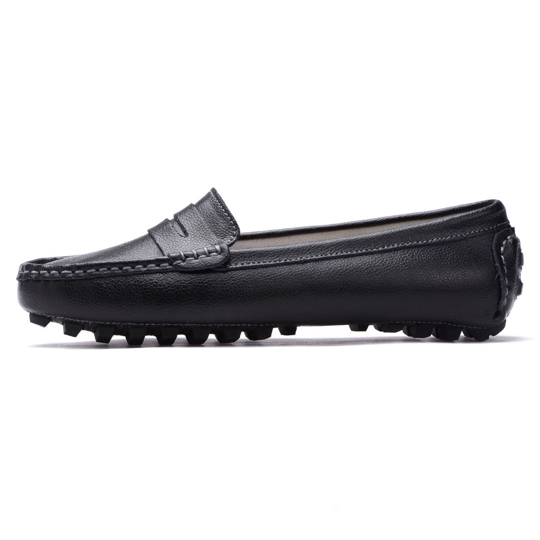 7406067d944 SUNROLAN Casual Womens Genuine Leather Penny Loafers Driving Moccasins  Slip-On Boat Flats Shoes 818