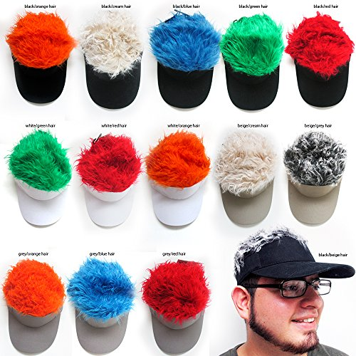Flair Hair Visor Hat Golf Wig Cap Fake Adjustable Gift Novelty Party Custome Gag (Hair Hat Visor)
