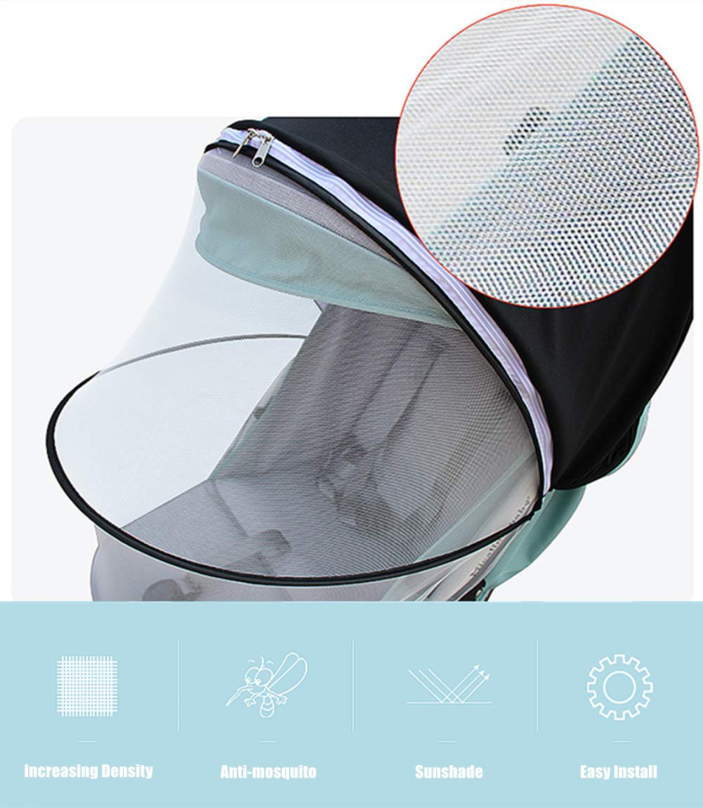 Mosquito Net Sunshade Anti-Mosquito Universal Cover 2 in 1 Fits for 95/% Baby Strollers Pushchair Black