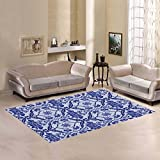 JC-Dress Area Rug Blue and White Flower Modern Carpet 7'x5'