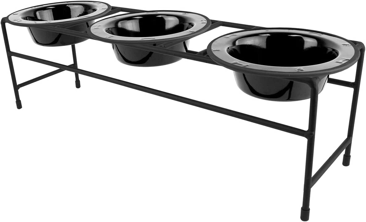 Platinum Pets Triple Diner Feeder with Stainless Steel Cat/Puppy Bowls, .75 cup/6 oz, Midnight Black