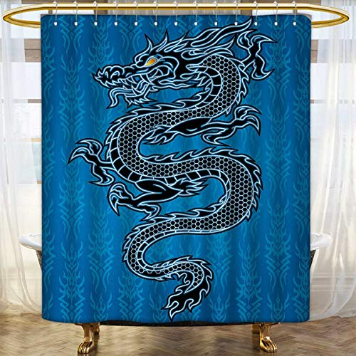 Anhounine Japanese Dragon Shower Curtain Collection by Black Dragon on Blue Tribal Background Year of the Dragon Themed Art Patterned Shower Curtain 72