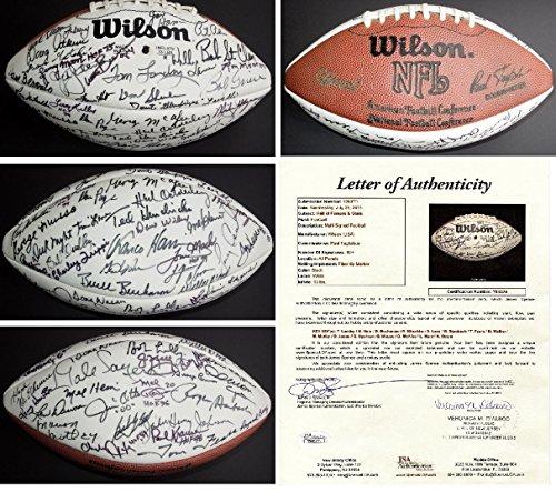 (NFL Hall of Fame Signed - Autographed Football by 60 Different HOFers - 22 Deceased - including Ray Nitschke, Roger Staubach, Tom Landry, Doak Walker, etc.)