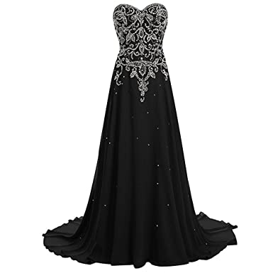 HEAR Womens Sweetheart Beaded Chiffon Long Prom Dress Plus Size 2017 OOO123