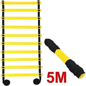 tfxwerws 5 m 10-Rung velocidad fútbol entrenamiento rápido juego de piernas deportes escalera de agilidad: Amazon.es: Deportes y aire libre
