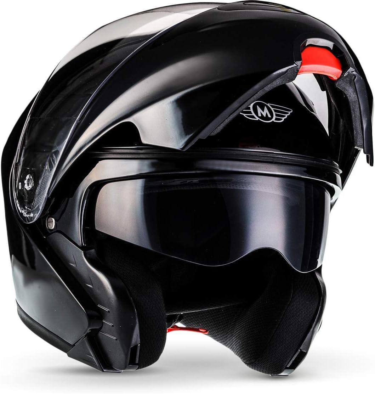 MOTO F19 Integrale Moto Casco da Motocicletta, ECE certificado, Gloss Negro, S (55-56cm)