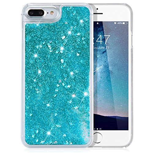 Blue Heart Glitter (iPhone 8 Plus / 7 Plus Case, OLRITRON Transparent Clear PC Hard Plastic Snap on Case with 3D Bling Sparkle Glitter Quicksand & Cute Hearts Flowing Liquid Cover for iPhone 8 Plus / 7 Plus - Blue)