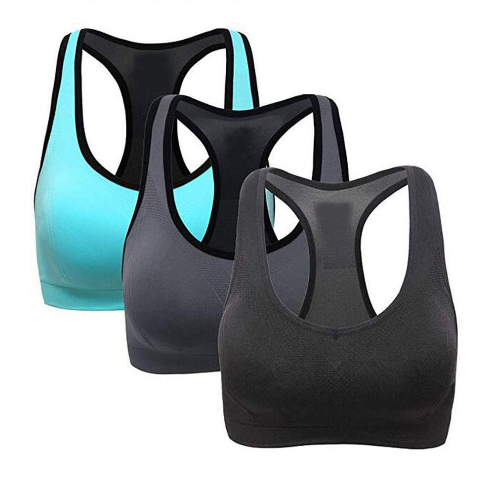 3 Pack Racerback Sports Bras - Padded Seamless High Impact Support for Yoga Gym Workout Fitness by Qisc_Bra