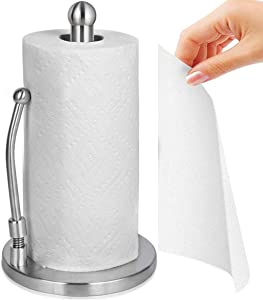 KFCHOTT Paper Towel Holder, Food Grade 304 Stainless Steel Standing Paper Towel Organizer Roll Dispenser for Kitchen Countertop Home Dining Table, Bathroom Paper Towel Holder, Silver