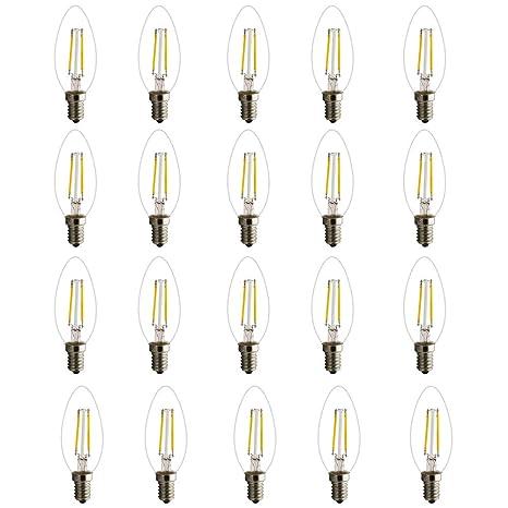 20 unidades E14 C35 2 W filamento LED Vela Bombilla, Blanco cálido 2700 K 180