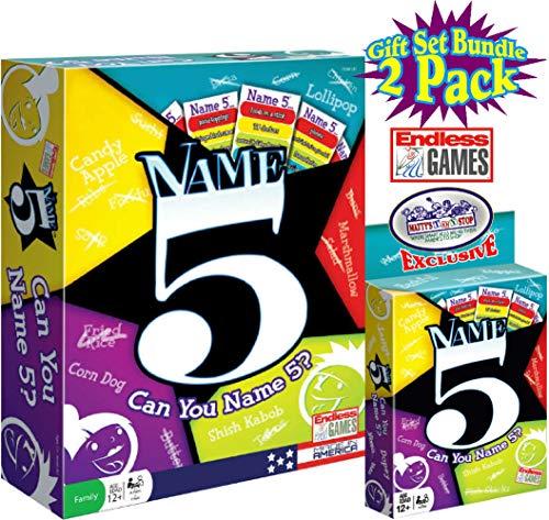 Endless Games Name 5 Board Game & Name 5 Card Game Gift Set Bundle - 2 Pack (Brand Name Game)