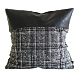 Kdays Tweed Gray Check Pillow Cover Designer Modern Throw Pillow Cover Decorative Faux Leather Pillow Cover Handmade Cushion Cover 20x20 Inches