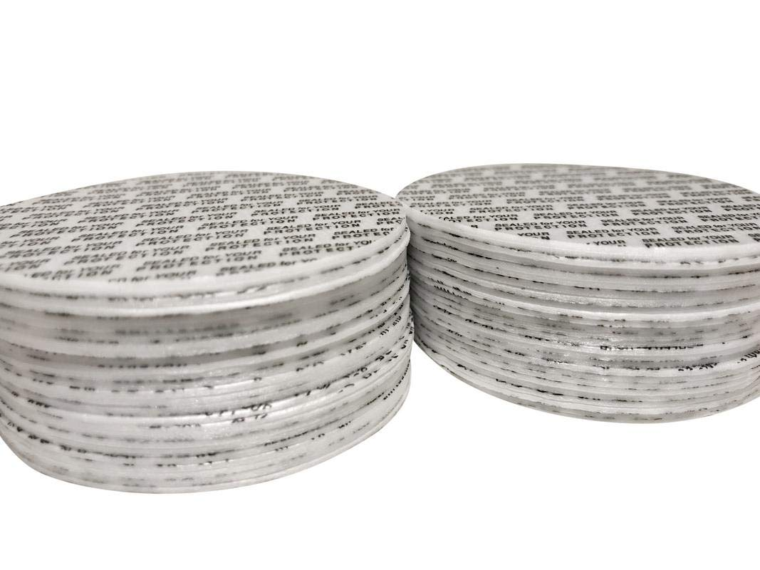 [500 Count] 70mm Pressure Sensitive PS Foam Seals Caps Liners''Sealed for your Protection'' Tamper Proof, Polystyrene lids for bottles jars by MCG Labs (Image #1)