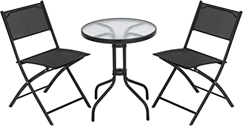 FDW Bistro Table Set 3 Piece Patio Set Small Patio Set Balcony Chairs Set of 2 Tempered Glass Tabletop