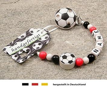 Kleinerstorch Baby Schnullerkette Mit Namen Motiv Fussball In Vereinsfarben Rot Weiss Schwarz