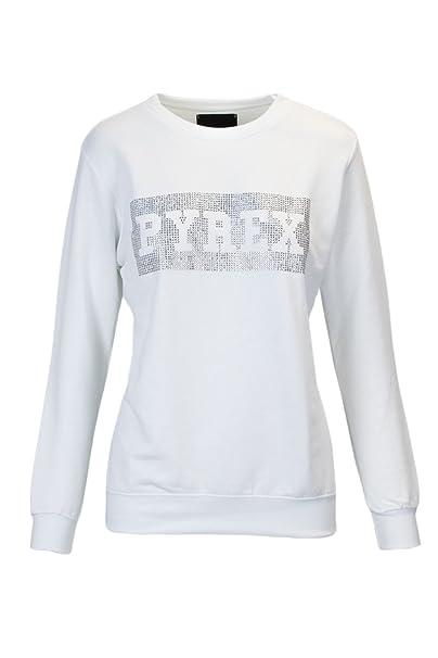 1253c4cbdc2853 PYREX FELPA DONNA GARZATA STRASS 33802 xs bianco: Amazon.it: Abbigliamento