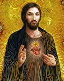 100% Hand Painted Canvas Oil Painting, Sacred Heart of Jesus Smith Catholic Oil Painting Reproduction/ Replica