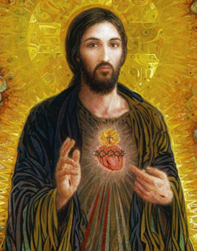 100% Hand Painted Canvas Oil Painting, Sacred Heart of Jesus Smith Catholic Oil Painting Reproduction/ Replica by Wonderful Gift