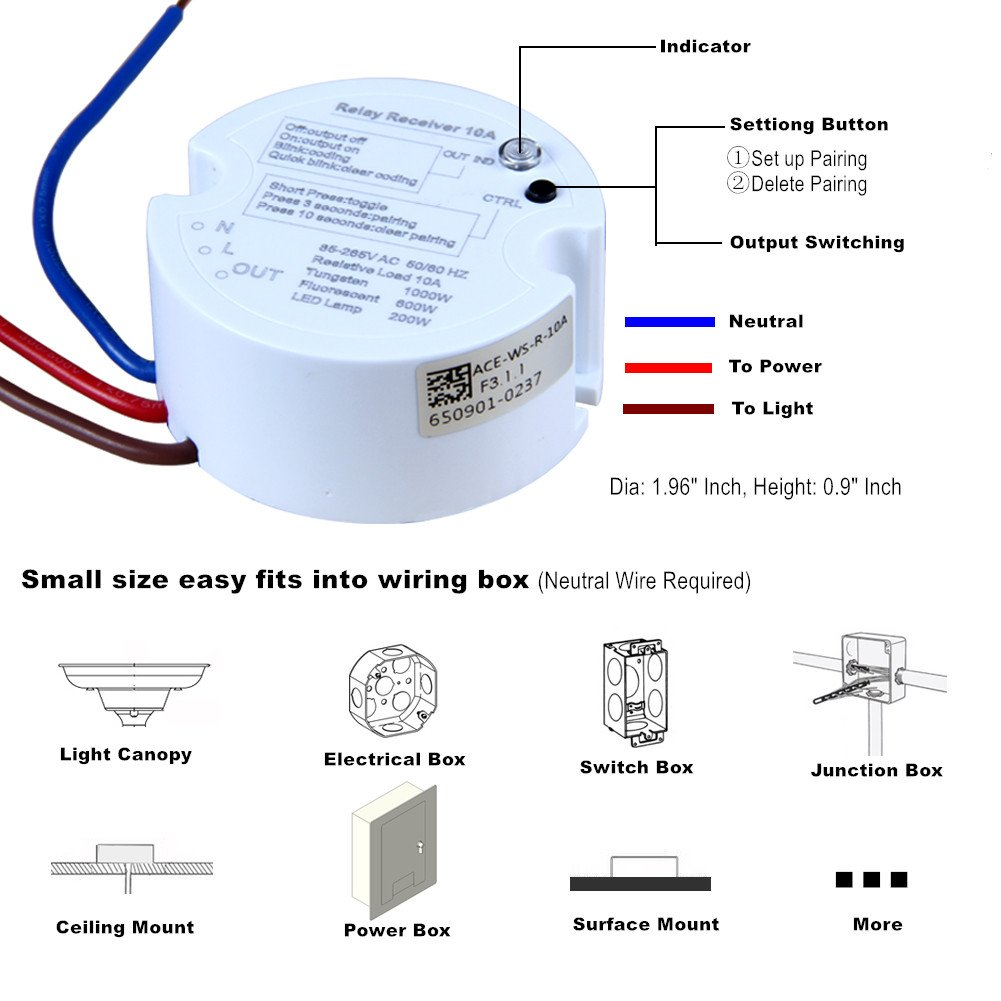 Oset Wiring Diagram V Led Flashing Circuit Acegoo Wireless Lights Switch Kit Quick Add Or Relocate Switches