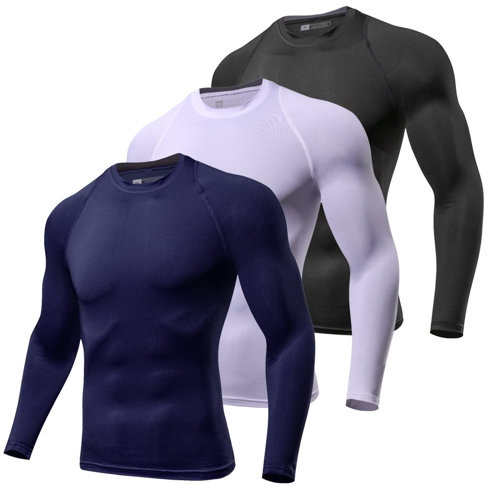 Lavento Men's Compression Shirts Baselayer Fleeced Long-Sleeve Dry Fit T-Shirts (1 Pack-1059 Fleeced Black,Small)