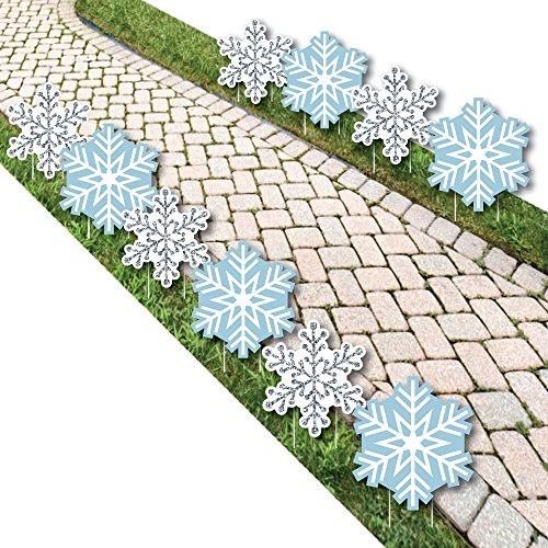 Winter Wonderland - Snowflake Lawn Decorations - Outdoor Snowflake Holiday Party & Winter Wedding Yard Decorations - 10 (Winter Wonderland Prom Decorations)