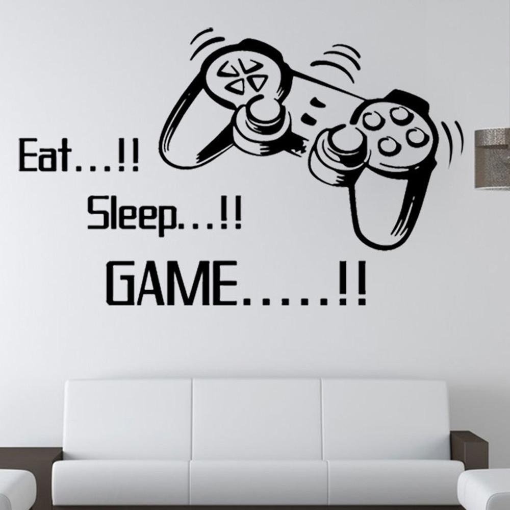 Livoty Eat Sleep Game Wall Stickers Boys Bedroom Letter DIY Kids Rooms Decoration Art