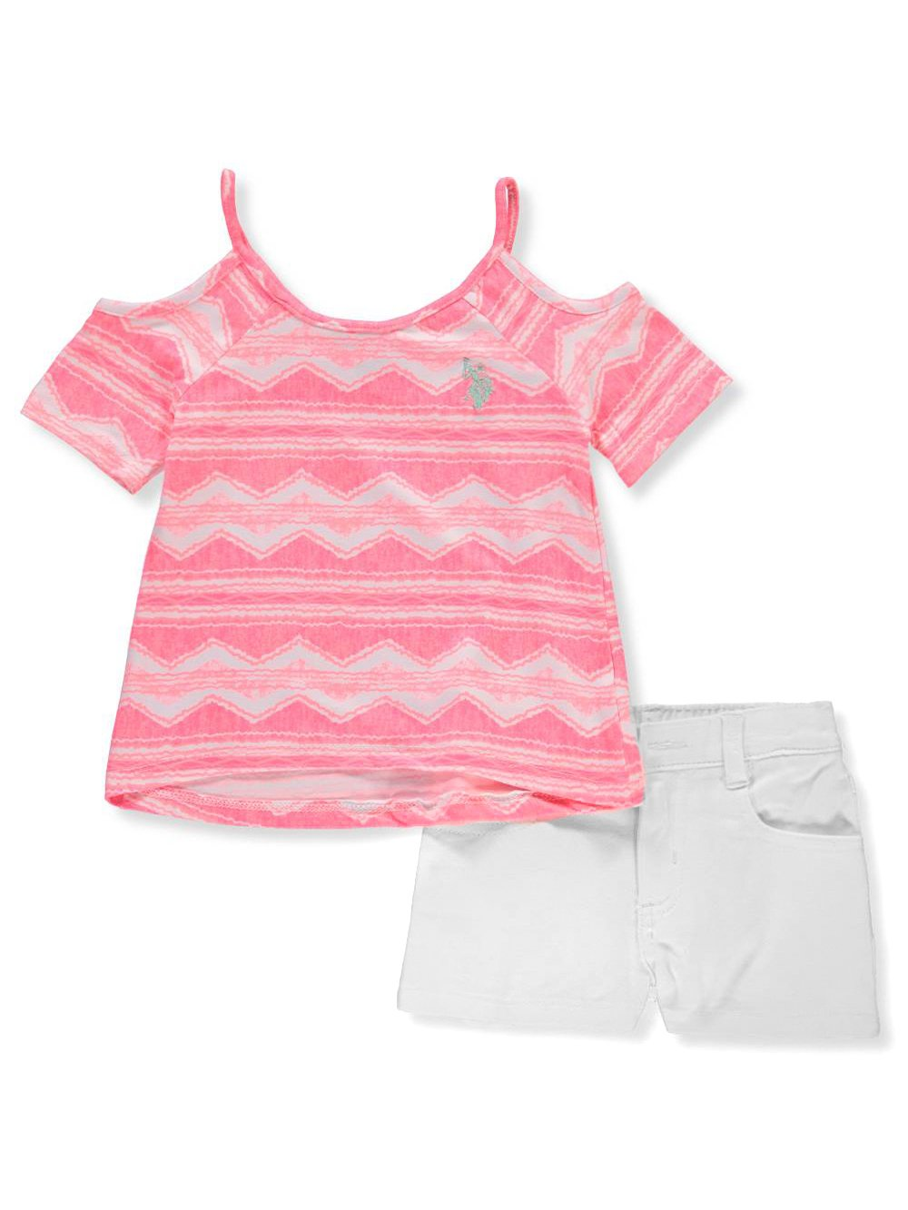 U.S. Polo Assn.. Big Girls' Fashion Top and Short Set, Cold Shoulder Milky Brush Print Twill Short Multi, 7