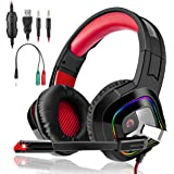 3I Dn. Game Headset High Quality LED Switch Games Headphones Gaming PS4 Headset, Over-Ear with Mic LED Light Noise Cancelling Volume Control for Laptop Mac | Best Gift Idea (Red)