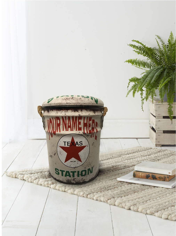 Mobili Rebecca/® Pouf Conteneur avec Couvercle PVC Metal Blanc Rouge Vert Deco Industriel Chambre Salon Cod. RE4857