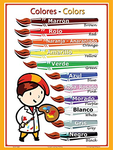 Spanish Language School Poster - Colors - Wall Chart for Home and Classroom - Spanish-english Bilingual Text (18x24 inches) by Long Bridge Publishing