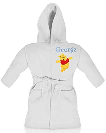 46cfe8165134 Oh Sew Simple Winnie The Pooh Boys Personalised Soft Fleece Dressing Gown Bathrobe  (White)  Amazon.co.uk  Clothing