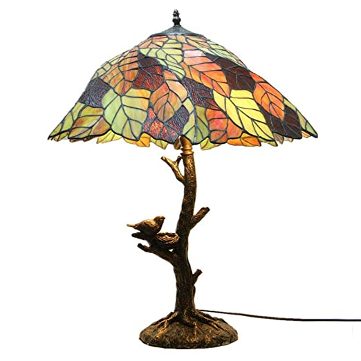 Lámpara De Mesa Vidrio, Hojas Creativas, Pájaros, Escritorio ...