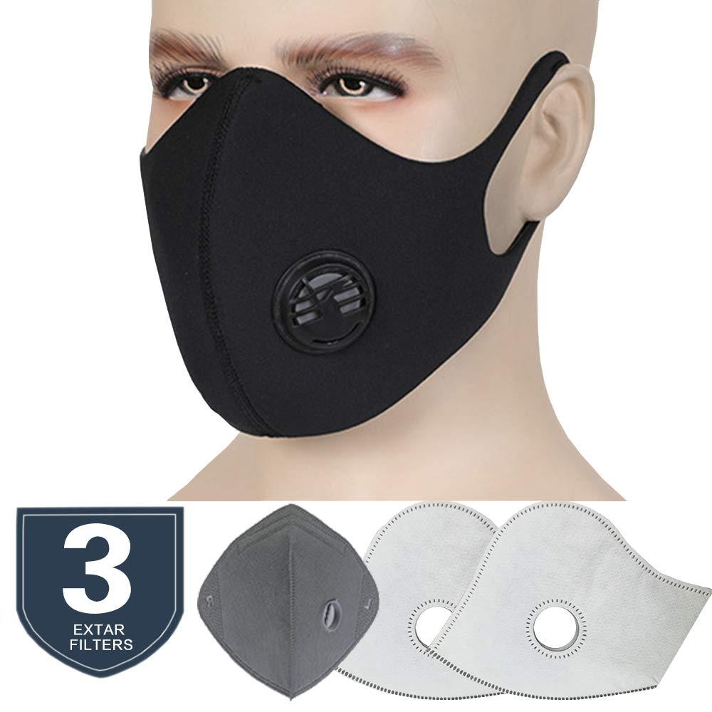Masque Respiratoires Anti-Poussière Anti-Pollution Adulte Protecteur PM2.5 Masque Antibactérien Filtre à Charbon Actif Bouche Masque pour Homme Femme (Masque + 3 Filtres ) (Noir) QIJIN