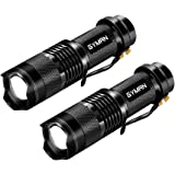 GYMAN Flashlights Tactical 2 Pack Portable CREE LED Flashlights 2 Models Zoomable Tactical Flashlight Rainproof Lighting Lamp Torch Survival Kit for Emergency,Hurricane,Cycling Hiking Camping Outage