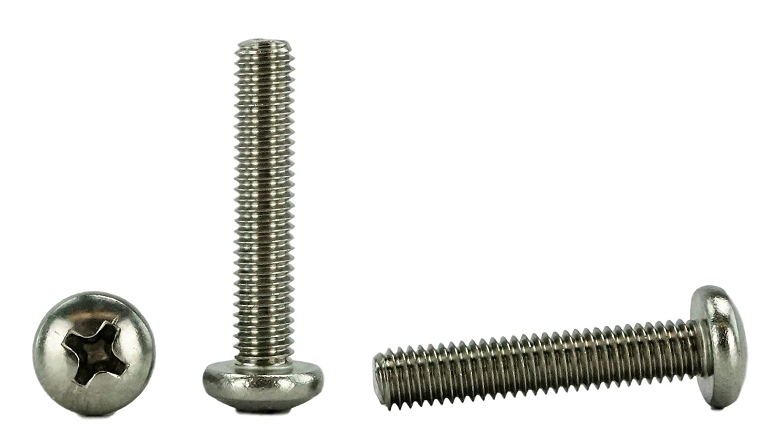 "Stainless 10-32 x 1 (1/2 to 3"" Lengths Available) Pan Head Machine Screws, Full Thread, Phillips Drive, Stainless Steel 18-8, Machine Thread (100, 10-32 x 1)"
