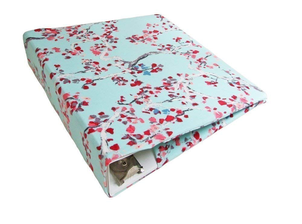 Floral Planner Cover in BLUE BLOSSOMS Stretch, Fabric Binder Cover for 2-3 inch Wide Binder, 3 Ring Binder Accessories