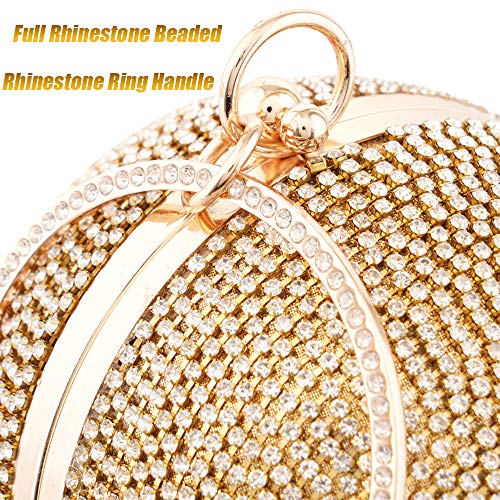 Womans Round Ball Clutch Handbag Dazzling Full Rhinestone Tassles Ring Handle Purse Evening Bag (C) by LONGBLE (Image #5)