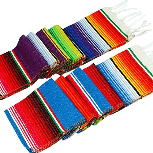 Ruisita 2 Pack 14 by 84 Inch Mexican Serape Table Runner Mexican Colorful Cotton Fringe Table Runners Blanket for Mexican Party Outdoor Wedding Kitchen Decorations -