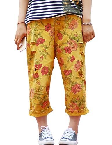 Youlee Mujer Flor Impreso Agujeros por la rodilla Pantalones