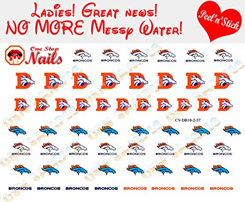 Broncos Clear Vinyl PEEL and STICK (NOT Waterslide) nail decals/stickers V2. Set of 57. -