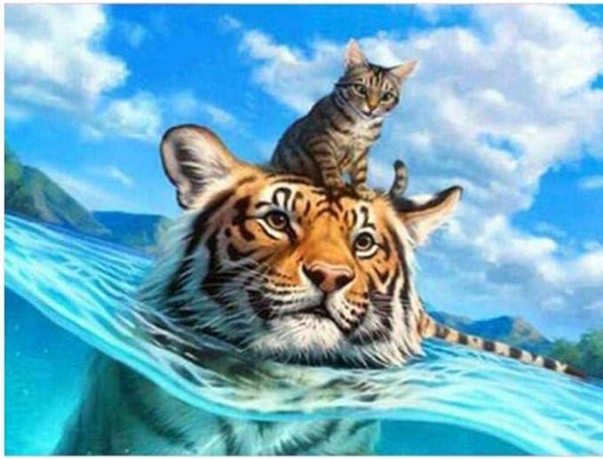 ZZXSY Puzzles 1000 Piezas Adultos Gato Tigre En El Agua Adecuado ...