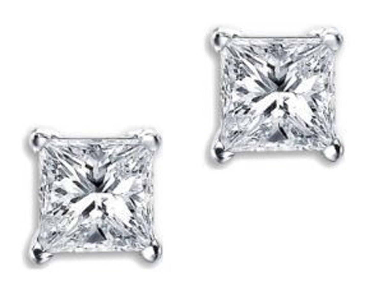 Princess Cut Square Cubic Zirconia Basket Set .925 Silver Unisex Stud Earrings (9mm 5ct.)