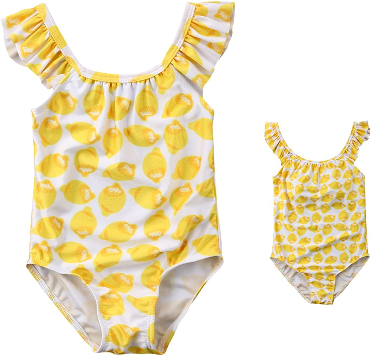 2018 Mom and Baby Girls Family Matching Lemon Swimsuit One Piece Beach Wear