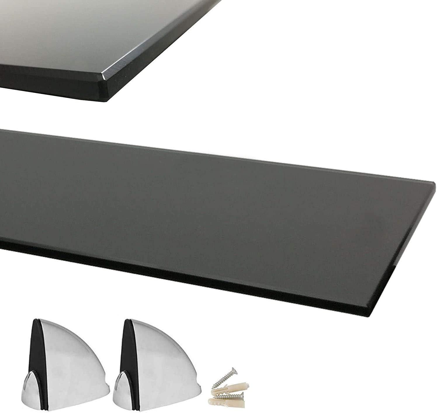 Glasregal mit 6mm ESG Sicherheitsglas Verschiedene Gr/ö/ßen Euro Tische Glas Wandregal perfekt geeignet als Badablage//Glasablage f/ür Badezimmer Klar, 90 x 17,8 cm