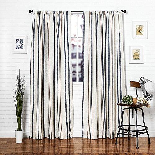 Homier Navy Blue Striped Linen Blend Window Curtain/drape/panel/treatment/covering    Rod Pocket Panel   Nautical Narrow Denim Stripes On Modern White/Cream ...
