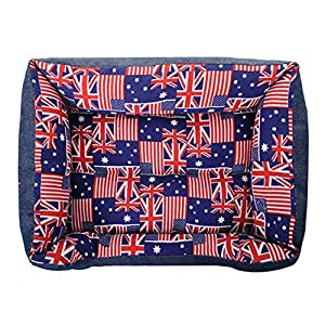 Luxury American Flag UK Flag Canvas Blue Dog Sofa Bed Pet Cat Couch
