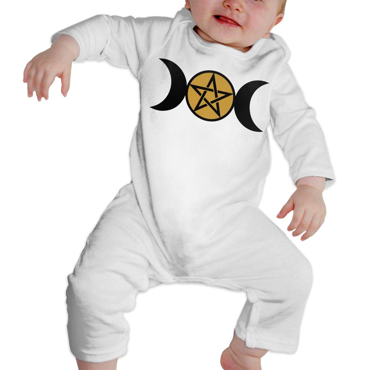 LBJQ8 Triple Moon Pentacle1 Toddler Baby Girls Sleep and Play Bodysuit Jumpsuit Outfits