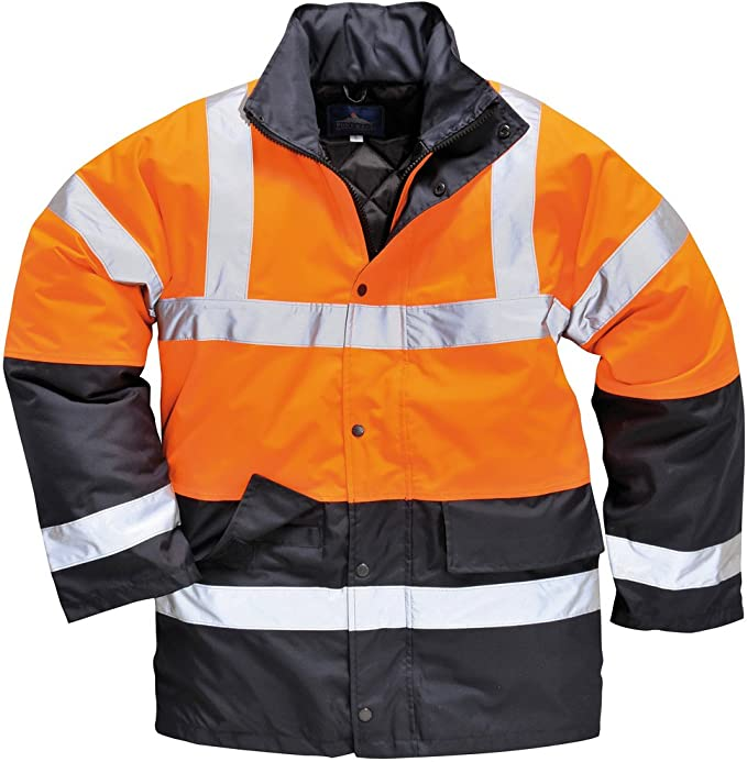 PORTWEST S466 yellow or red contrast hi-vis traffic work wear jacket size XS-5XL