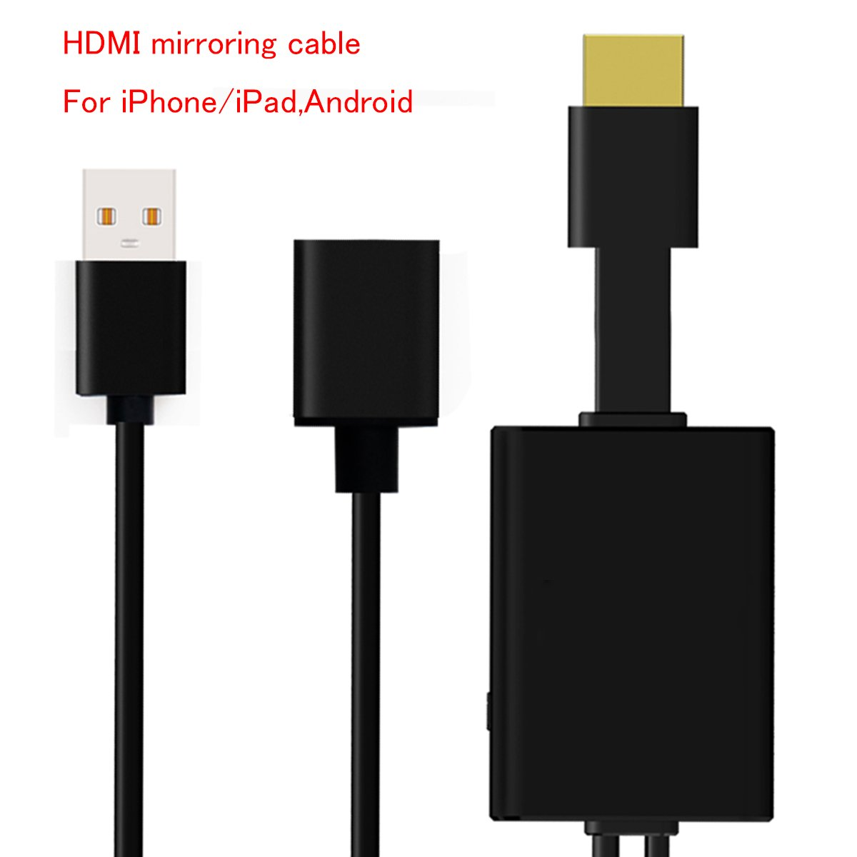 HDMI Display Dongle Lithgning to HDMI Android to HDMI Play 1080p Lightning Digital AV Adapter for Mirroring Mobile Phone Screen to TV/Projector HDMI Adapter for Android/iPhone/iPad device