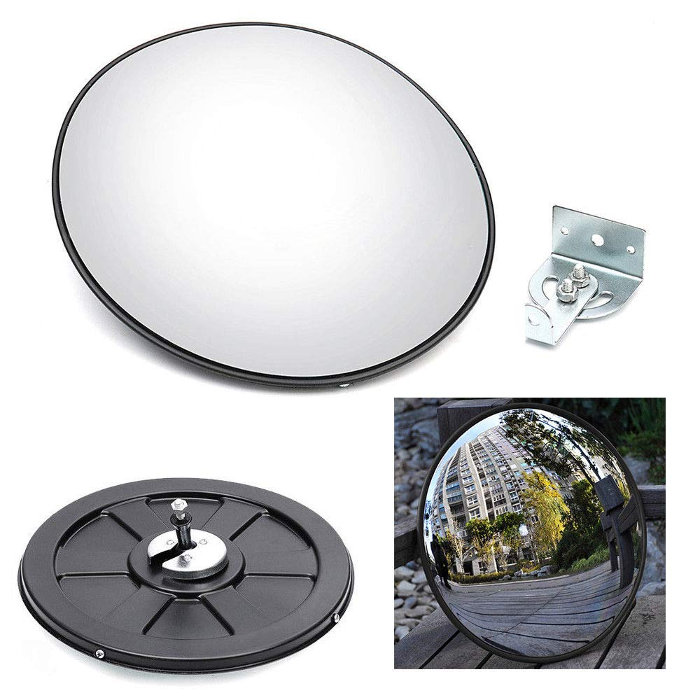 30CM Wide Angle Convex PC Mirror Wall Mount Corner Blind Spot Mirror for Traffic Road Driveway Security and Safety Wanlecy 12 Convex Blind Spot Mirror